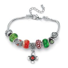 Multi-Colored Crystal Bali-Style Beaded Charm and Spacer Bracelet in Silvertone Metal