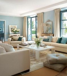 Enchanting Light Blue Walls In Living Room 39 With Additional Light Blue Living Room - Steval Decorations Living Room Color Schemes, Living Room Colors, Living Room Paint, Living Room Sets, Living Room Designs, Cozy Living, Blue Living Room Walls, Cottage Living, Bedroom Colors