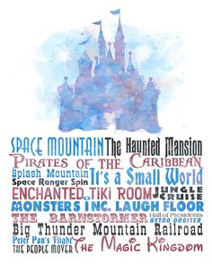 8x10 Digital Download of Cinderellas Castle and a list of some of the greatest and most well-known attractions at Disneys Magic Kingdom.