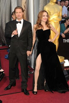 """Brad Pitt and Angelina Jolie arrive at the 84th Annual Academy Awards - February 26, 2012.  A Twitter account called """"Angie's Right Leg"""" was created that evening and soon had 15,000 followers!"""