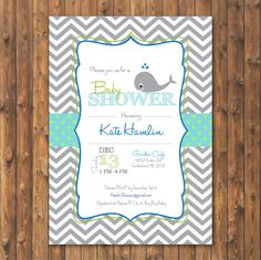 Whale Themed Chevron and Dot Baby Shower Invite- FREE SHIPPING & CUSTOMIZATION! Printed Invites and Digital Printable Available (Ocean, Sea)... By Jalyn at Indiginess