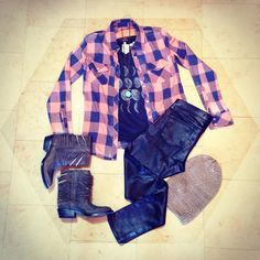 Going for a last minute trip to the pumpkin patch before #Halloween? Make a fashion statement in this ensemble. Studio 1220, Socal Boho Chic & Beyond. #flannel #graphictee #beanie #booties #pumpkinpatch #ootd #fashion #fall