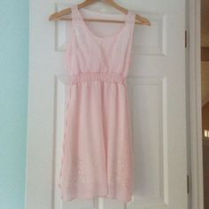 SALE-  blush pink dress with rhinestones This is so pretty and light. The little rhinestone details on the top and bottom are beautiful and it sun he's nicely at the waist. Also ties at the waist. Dresses Mini