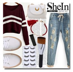 """""""Shein Burgandy Sweater"""" by emmy-124fashions ❤ liked on Polyvore featuring Oris and shein"""