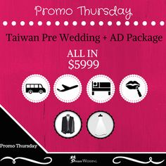 Experience the four seasons of Taiwan with our Pre Wedding Promotion (Promo Thursday) We believe that you Must enjoy every moment for your Pre Wedding Photoshoot and you should not worry about additional cost! This Pre Wedding Promotion will include most items in it and you can simply pack up & go to Taiwan. Since the package include the Air ticket & Accommodation too!  http://www.dreamwedding.com.sg/taiwan-pre-wedding-promotion-promo-thursday-04-june-14-june-2015/