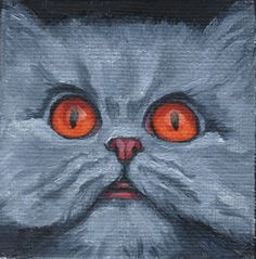 """RK Ives Original Oil Painting : 3"""" x 3"""" Gray Cat, Copper Eyes (includes frame) #Realism"""