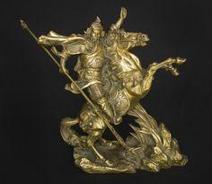 Escultura tibetana em bronze, Senhor da Guerra, medindo..