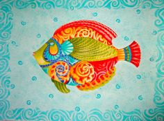 JEWELED FISH Watercolor Tropical/ Nautical Vibe. by ChristineGraf
