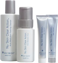 Nu Skin Clear Action® Acne Medication System is a gentle but effective treatment system designed to help clear the blemishes you have now, fade the signs of past breakouts, and, most importantly, keep skin clear and vibrant for the future. (www.nuskin.com/thesource)