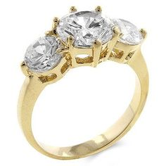 14k Gold Bonded 3 Stone Engagement Ring Featuring 3 Round Cut Clear CZ in a Prong Setting in Goldtone