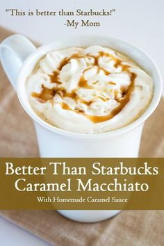 Better Than Starbucks Caramel Macchiato - A completely homemade copycat recipe for Starbucks' caramel macchiato, but better! From BakingMischief.com
