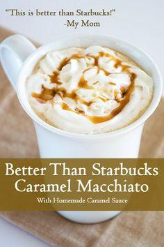 Better Than Starbucks Caramel Macchiato - A completely homemade copycat recipe for Starbucks' caramel macchiato, but better! From BakingMischief.com