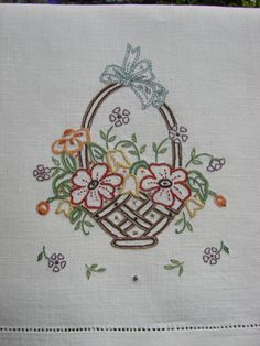 Hand Embroidery linen guest towel