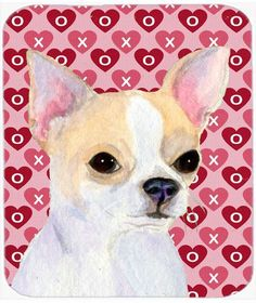 Chihuahua Hearts Love and Valentine's Day Portrait Mouse Pad, Hot Pad or Trivet