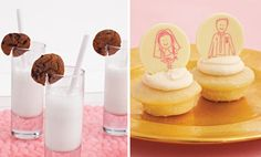 Milk and Cookies Party- Notched Cookies for Milk Glass via- Blowout Party