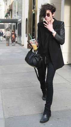 all black blazer, shirt, jeans, shoes More