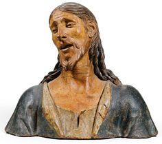 Busto de Cristo como Varón de Dolores, atribuido a Agostino de Fondulis y fechado a finales del S.XV o principios del S.XVI. Lombardía, Italia. Terracota policromada. 42,8 cm. Colección privada en Londres.