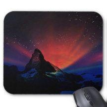 Swiss Matterhorn Aurora Borealis Mouse Pad