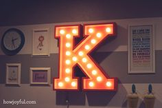DIY Circus Marquee Alphabet Light - for the boysroom Marquee Letters, Marquee Lights, Light Letters, Diy Projects To Try, Craft Projects, Fun Crafts, Diy And Crafts, Diys, Do It Yourself Inspiration