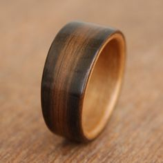 ebony wooden ring lined with cherry