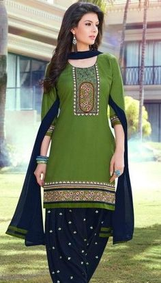 Satin Cotton Readymade Designer Salwar Kameez with matching Dupatta Designer Salwar Kameez, Patiala Salwar Suits, Churidar, Salwar Designs, Indian Attire, Indian Wear, Pakistani Outfits, Indian Outfits, Trajes Pakistani