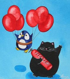 Black Cat and Penguin - Red Balloons - in Aqua\/Red - Canvas Painting\/Print -- by Annya