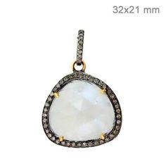 14k Gold 925 Silver .41ct Diamond Pave Pendant Rainbow Moonstone Fashion Jewelry #Handmade #Pendant