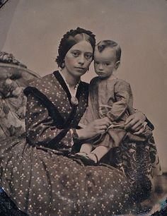 Mother with Son, 1/9th-Plate Ruby Ambrotype, Circa 1861: