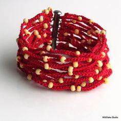 I Love Tomato Red Crocheted Cuff Wide Thick por WillOaksStudio, $46.00