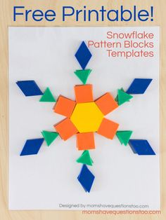 These free printable snowflake pattern block templates will be fun for toddler and preschoolers. They help teach colors, shapes and 1 to 1 correspondence. Christmas Activities, Winter Activities, Preschool Activities, Preschool Winter, Preschool Shapes, Christmas Math, Preschool Curriculum, Kindergarten Math, Teaching Math