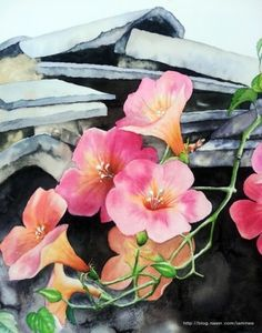 Lotus Flowers-Original Watercolor Painting-Pink Lotus With Blue and Green Background-Flower Wall Art - Watercolor And Ink, Watercolor Flowers, Watercolor Paintings, Chinese Landscape Painting, Detailed Paintings, Floral Artwork, Tiny Flowers, Lotus Flowers, Flower Photos