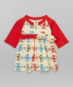 Look at this #zulilyfind! Red & Natural Phoenix Organic Bow Dress - Infant, Toddler & Girls #zulilyfinds