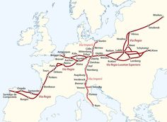 """In medieval Europe, there were two main """"royal highways"""" – Via Regia and Via Imperii – these were designated routes in the Holy Roman Empire that afforded protection to travelers in return for tolls collected for the emperor, who had the duty to. European History, World History, Ancient History, Holy Roman Empire, Historical Maps, Kaiser, Ancient Civilizations, Plans, Bavaria"""
