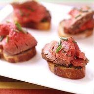 Filet on garlic toast - a carnivores dream! #wedding #food