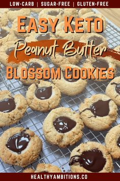 Peanut butter blossom cookies have been ketofied with a few, quick and easy, swaps! I used almond flour, monk fruit, homemade peanut butter, and sugar-free chocolate to bring this holiday favorite to your low-carb diet! #healthyambitions #ketocookierecipes #peanutbutterblossomcookies #glutenfree #keto #sugarfree #lowcarb Sugar Free Peanut Butter Cookies, Peanut Butter Blossoms, Homemade Peanut Butter, Keto Cookies, Keto Desserts, Frozen Desserts, Easy Desserts, Paleo Recipes, Low Carb Recipes