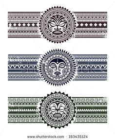 Polynesian tattoo styled masks with pattern bracelets. Vector illustration.
