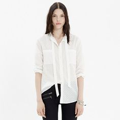 Tie-Neck Blouse in Sheerdrop - shirts & tops - Women's NEW ARRIVALS - Madewell