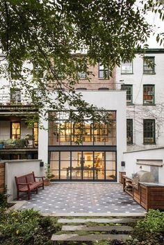 Elizabeth Roberts steel window wall Brooklyn townhouse garden ; Gardenista