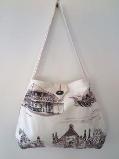 Linen handbag, Retro linen tote bag, OOAK linen tote, Sydney tea towel tote bag, Historic print tote bag, Handmade tote bag, Australian tote by RetroMementos on Etsy