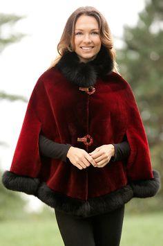 Celia Beaver Fur Cape with Fox Fur Trim by Overland Sheepskin Co. (style 17774)