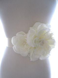 Ivory Cluster Bridal Sash Wedding Accessory: Large, wedding sash, bridal sash, bridal belt, flower sash, beaded sash. $68.00, via Etsy.