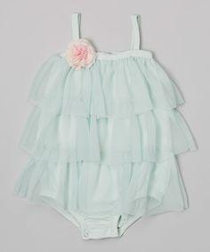 Victoria Kids Light Green Tulle Ruffle Pima Bodysuit - Infant on #zulily *so flipping cute