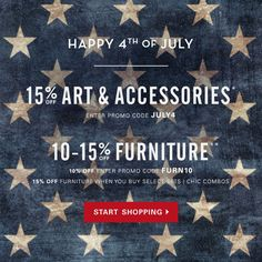 Z Gallerie's 4th of July Sale is on! Take 15% off accessories* and 10-15% off furniture** with codes JULY4 and FURN10 at checkout now though 7/7/13.