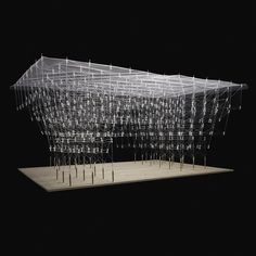 "Tokyo university students create ""drawn-in-place"" architecture using a pen A group of University of Tokyo students overseen by architect Kengo Kuma have developed a pen that. Kengo Kuma, Pavillion, Landscape Model, Arch Model, 3d Printing Service, Student Work, Architecture Design, Architecture Models, 3d Printer"