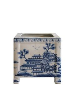 - Blue & White Pagoda Planter - painted blue and white porcelain - featuring a modern shape and Chinoiserie style, standing on four feet - excellent quality, very heavy - measures square x high Blue And White China, Blue China, Navy Blue, Decorative Objects, Decorative Boxes, Decorative Accents, Palm Beach Decor, Chinoiserie Chic, Blue Rooms