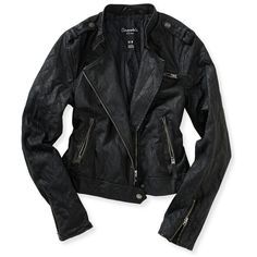 196c463a272f Aeropostale Faux Leather Quilted Sleeve Moto Jacket ( 22) ❤ liked on  Polyvore featuring outerwear