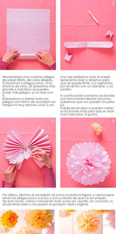 Pom Pomer til dekoration Handmade Flowers, Diy Flowers, Paper Flowers, Diy Fest, Pom Pom Crafts, Party Entertainment, Frozen Party, 1st Birthday Parties, Pattern Paper