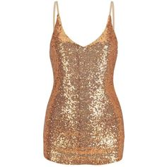 Golden V-neck Strap Sequins Cami Top (175 NOK) ❤ liked on Polyvore featuring tops, camisole tank top, cami top, cami tank, beige tank top and strappy tank top