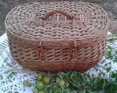 FRENCH VINTAGE BASKET Storage Picnic Animal Shopping Basket Holdall Wicker Willow Woven Basket.