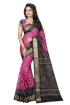 133a71dbae6435 Elegant Printed Art Silk Saree With Blouse Piece